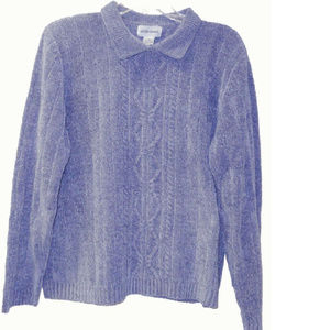 Alfred Dunner Chenille knit blue Sweater Medium